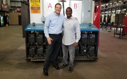 Andre Horn of Industrial Welding Academy with Nick Fox of Texas Citizens Bank